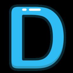 blue, d, letter, alphabet, letters icon icon