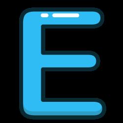 blue, e, letter, alphabet, letters icon icon