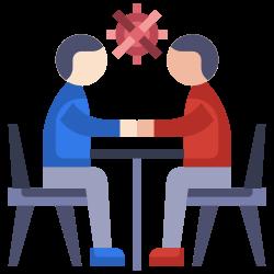 coronavirus, man, talking, communication, meeting icon icon