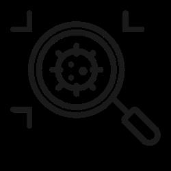 coronavirus, virus, magnifying glass, covid, bacteria, corona icon icon