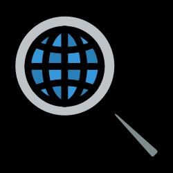 development, magnifier, globe, search, glass icon icon
