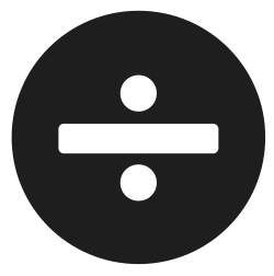 division, sign, share, math, character icon icon