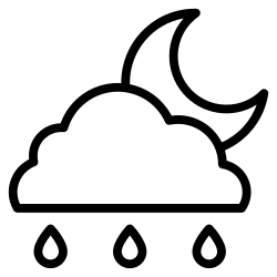 element, night, weather, rainy, climate, half moon, forecast icon icon