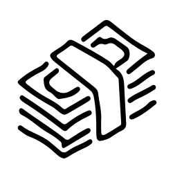 finance, money, hand, paper, drawn, bucks, stack icon icon