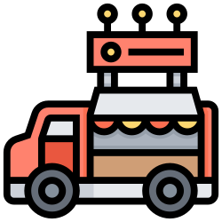 food, car, delivery, mobile, street, kitchen icon icon
