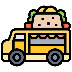 food, delivery, hot, street, truck, dogs icon icon
