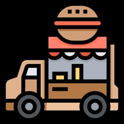 food, sell, hamburger, truck, facility icon icon