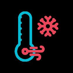 frozen, thermometer, temperature, cold, winter, snow, weather icon icon