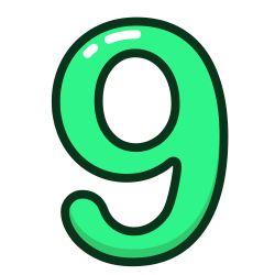 green, number, study, nine, numbers icon icon