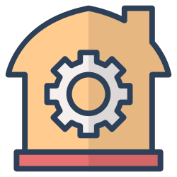 house, management, setting, gear, invesment, real estate, property icon icon