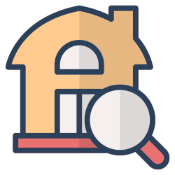 house, search, magnifier, find, invesment, real estate, property icon icon