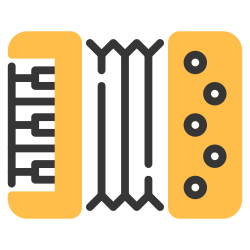 keyboard, retro, musical, instrument, music, accordion icon icon