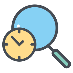 magnifier, boxperspectivedelay, transportation, shipping, delay, time, logistic icon icon