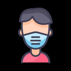 male, face mask, quarantine, coronavirus, covid icon icon