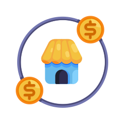 market, money, circle, marketing, coin, earnings, business icon icon
