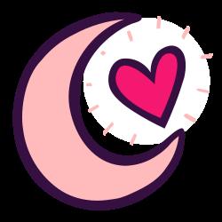 night, crescent, moon, sleep, heart, romance, evening icon icon