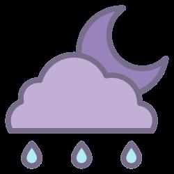 night, element, rainy, weather, moon, forecast, climate icon icon