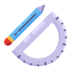 pencil, learning, drawing tool, ruler, school, education icon icon