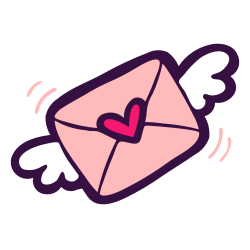 post, love, letter, wings, mail, valentine, message icon icon