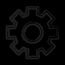 productivity, gear, settings, custom, shape, social icon icon