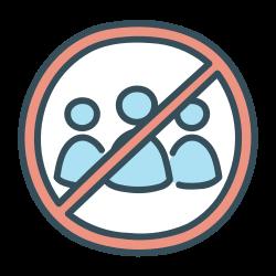 quarantine, social, ban, no, congregation, distancing icon icon