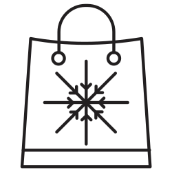 shopping, snow, sale, bag, flakes, christmas icon icon