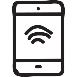 signals, tablet, mobile, wifi, wireless, connection, device icon icon