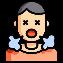sneeze, feverish, cough, lineal, color, sick, covid icon icon