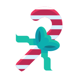 sweets, cane, candy, ribbon, bow icon icon