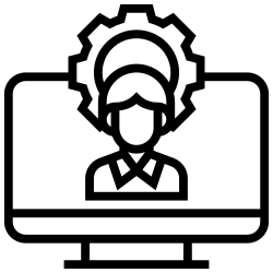 technician, support, computer, video, chat icon icon