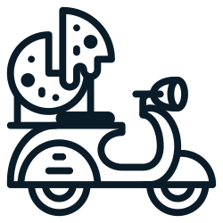 transportation, motorcycle, scooter, food, pizza0, delivery icon icon