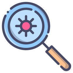 virus, glass, magnifying, magnifier, search icon icon