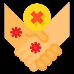 warning, handshake, no, hands, health, hand, shake icon icon