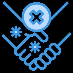 warning, handshake, no, hands, shake, health, hand icon icon