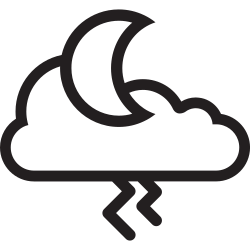 weather, cloudy, cloud, moon, night, thunder, forecast icon icon