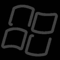 windows, social media, drawn, draw, window, line, sketch icon icon